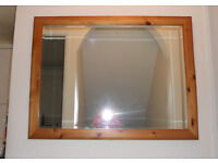 Large Bevel Edged Mirror in Solid Pine Frame