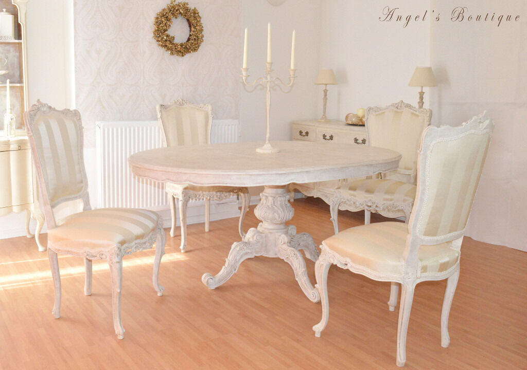 great deal wow french antique shabby chic dining table with four chairs in. Black Bedroom Furniture Sets. Home Design Ideas