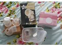 Tommee Tippee manual breast pump and breast pads