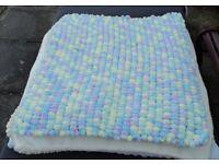 Hand Knitted Pom Pom Pram Blankets with Fleece Backing