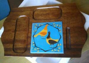 2 Mid-century cheese boards Serving Trays Solid DANISH TEAK by Kaj Polk; Blue Inlay Birds MCM 1970s Vintage Solid Wood
