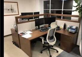 4 Coffee-dark walnut L-shaped office 2 person pod/bench desks/tables with screen