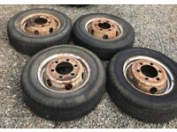 4 x 185 R 14 C tyres on rims 6 stud.