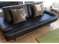 Brown Faux Leather Sofa / Sofa Bed with chrome legs