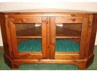 NEW DUCAL Glazed corner TV unit stand Hampshire / Rosedale pine solid wood cabinet velvet dvd shelf