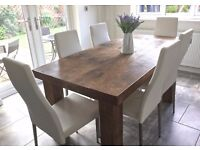 BESPOKE RUSTIC, SOLID WOOD EXTENDING DINING TABLE & 6 X WHITE CHAIRS
