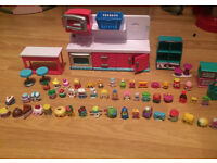 Big bundle of 50 shopkins with kitchen etc