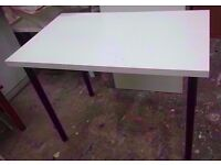 White dining table with black legs (H:76cm x W:60cm x L:100cm) in good used condition