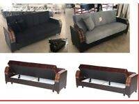 NEW TURKISH MADE - - SOFA BED WITH STORAGE - OPTIONAL- - FULLY PADDED SEATS