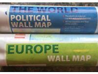 World map, Europe map, paper folder