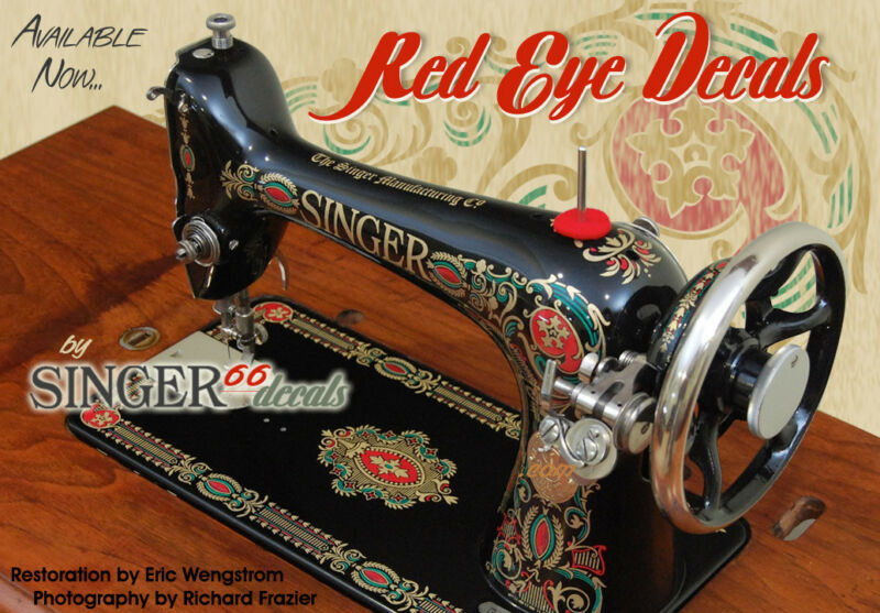 --> SINGER RED EYE Model 66 COLOR CORRECT!!!!! Sewing Machine Restoration DECALS