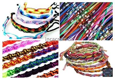 Lot 100 Mix Friendship Bracelets Wristband Peru Art-Summer Festivals -Stock UK