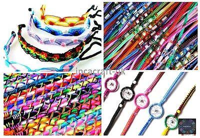 Lot 100 Mix Colorful Friendship Bracelets -Summer Festivals Party Bag -Stock UK