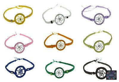 Lot 100 Colorful DreamCatcher Friendship Bracelets Summer Festivals  -Stock UK