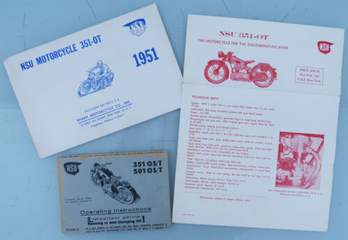 3 1951 NSU MOTORCYCLE BROCHURE/S BOOK CATALOG MANUAL 501 OS/T 7351 OS/T   MAX