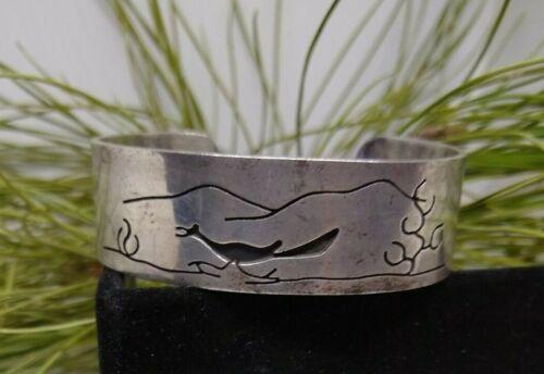Old pawn, Sterling silver, Hopi,  roadrunner cuff bracelet - NICE !!