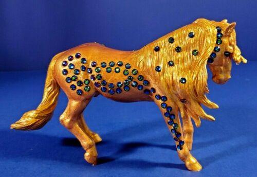 HORSE FIGURINE HAND PAINTED RESIN GOLD WITH SWAROVSKI RHINESTONE DESIGN - NEW SI