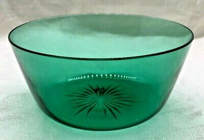 Vintage Used. 7 inch diameter and 5 12 inches tall Green and White Snowflake Pedestal Bowl