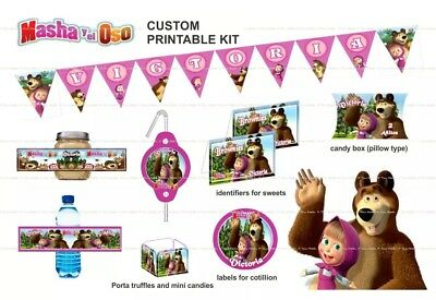 Masha and the Bear Personalized and Printable Party Kit -  EMAIL DELIVERY! - Masha And The Bear Party Supplies