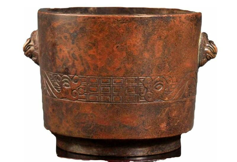 Chinese Double Foo Lions Ear Bronze Censer. Early 19th. C.