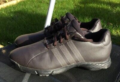 Adidas Golf Shoes Trainers - Dark Brown - Size 8 UK -Traxion - Adiwear