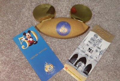 DISNEYLAND 50TH BIRTHDAY GOLD MICKEY MOUSE EARS HAT DATED JULY 17 2005 AND MAPS