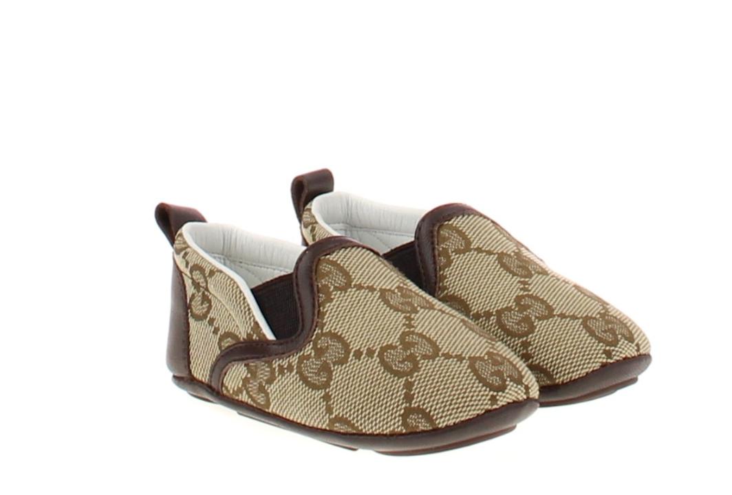 NIB NEW Gucci baby boys beige ebony GG crib shoes 16 17 18 19 1 2 3 3.5 388905