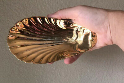 Apilco Gold Scalloped Shell Porcelain Dish Seafood Jewelry Trinket Plate