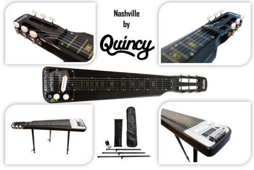 Lap Steel Slide Electric Guitar Black optional legs free tone bar Quincy pedal