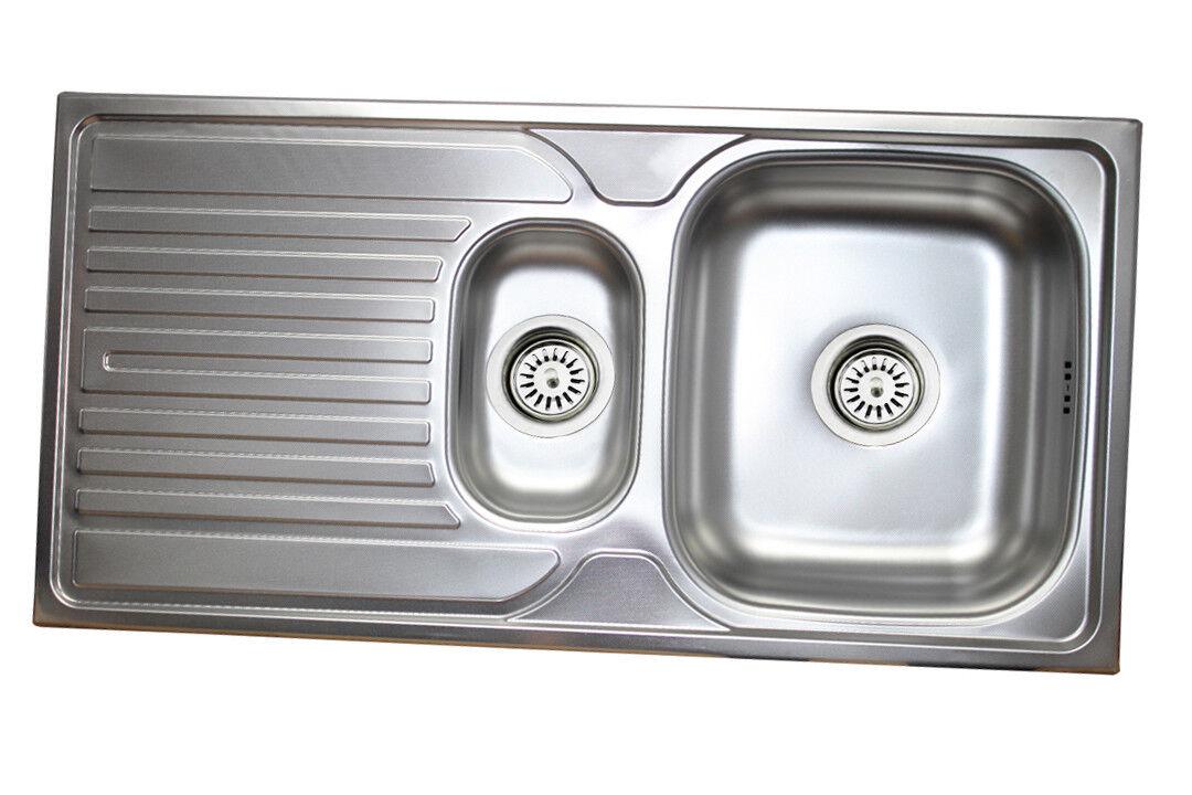 Edelstahl Küchenspüle Edelstahlspüle Einbauspüle Küchen Spüle 1,5 Becken 50x100