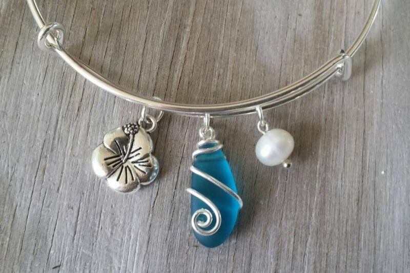 Handmade in Hawaii, wire wrapped teal blue sea glass bracelet, Sea glass jewelry