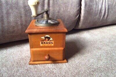 Vintage Coffee Grinder Ahner Vienna Austria Brasil Wood Mill European Functions