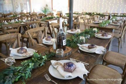 Cross back chairs – Stackable Oak - Wedding and Event