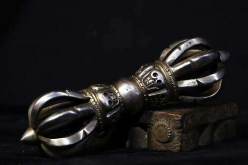 Old Tibet TianTie Iron Meteorite Skull Vajra Phurba Dagger Holder Fa Qi Statue