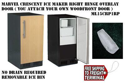Black Marvel Crescent Ice Maker No Drain needed right Overlay door ML15CRP1RP