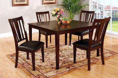 (Bridgette Five Piece Dining Set Dark Brown Wood & Espresso Finish Dining Room)