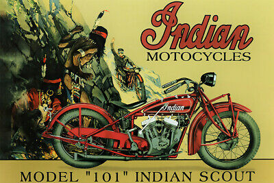 Model 101 Indian Scout Motorbike Vintage Art Wall Room Poster - POSTER 24x36
