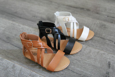 New Girls Toddler Zipper Cross Gladiator Summer Beach Sandals Shoes size 5-10