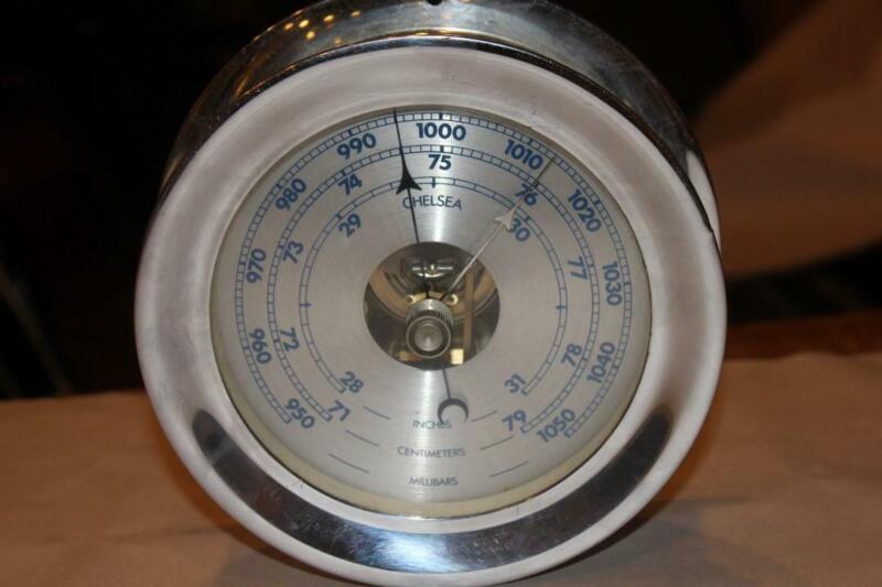 """Vintage Chelsea Ships Bell Barometer 5"""" - Nickel Case"""