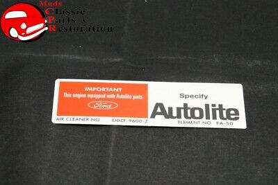 70 Mustang Early 351W w/o Ram Air Autolite Air Cleaner Service Instruction Decal for sale  Chatsworth