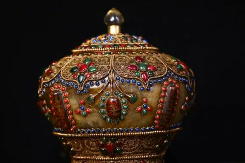 19cm China Tibet Antique Gem box Tibetan antiques Box inlaid with gems