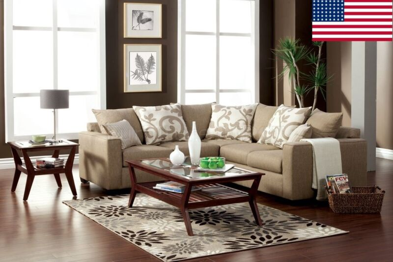 Contemporary Beige Sectional Made In Usa Living Room Furniture Contrast Pillows