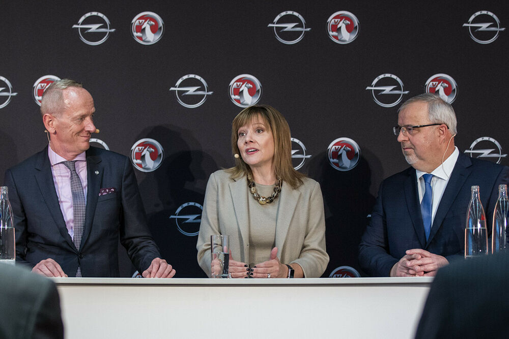 Beim Pressegespräch: Opel-Chef Karl-Thomas Neumann, GM-Chefin Mary Barra, Opel-Kommunikationschef Johan Willems
