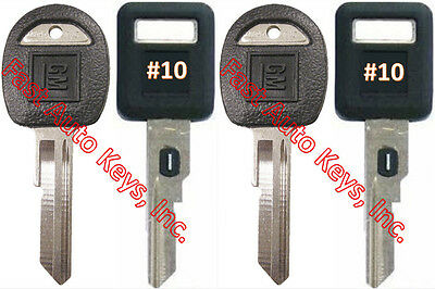 NEW GM Single Sided VATS Ignition Keys #10 (PAIR) + Doors/Trunk OEM Keys (PAIR)