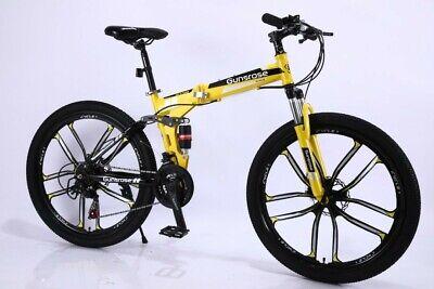 "26"" Folding Mountain Bike 21 Speed MTB Bicycle Full Suspension Dual Disc Brakes"