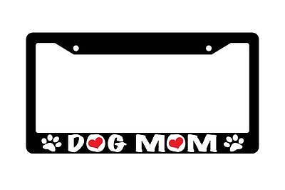 Black License Plate Frame DOG MOM w/PAWS Auto Accessory