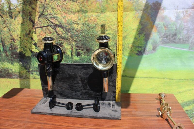 Pair horse drawn 12 volt carriage lamps BRASS  PONY SIZE