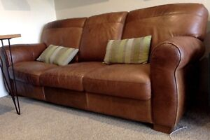Rustic Brown Leather 3 seater sofa Chatswood Willoughby Area Preview