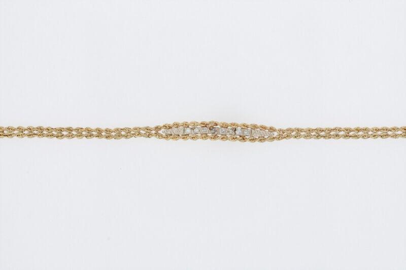 ".15ctw Round Cut Diamond Rope Link Chain 6.5"" Bracelet 14K Yellow Gold"