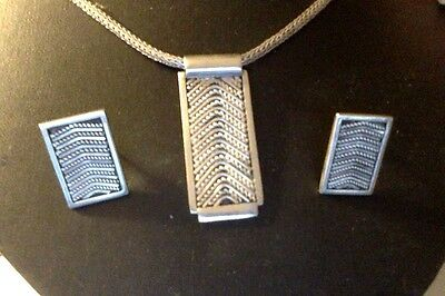 "Modernist Sterling Silver Necklace16.5"" & earrings 1"" set 925 TW=35.7 g Deal!"